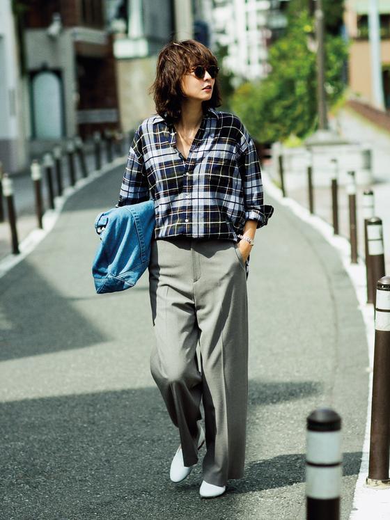フラット靴×新ゆるパンツ で秋コーデをもっと女らしく!2-1