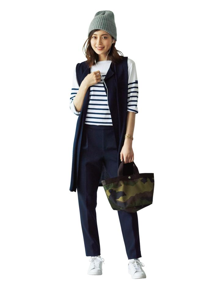 フラット靴×新ゆるパンツ で秋コーデをもっと女らしく!3-2