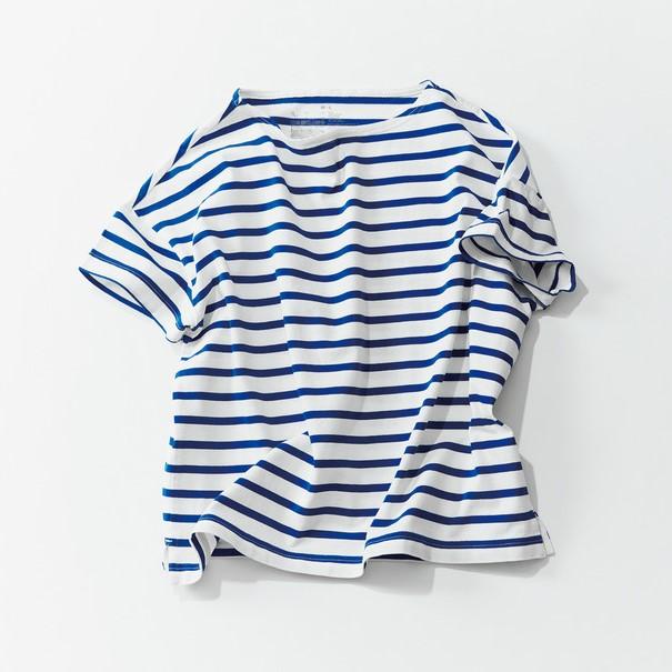 無印良品 MUJI ボーダーTシャツ サイズXL オーガニックコットン 格安スタート_画像1