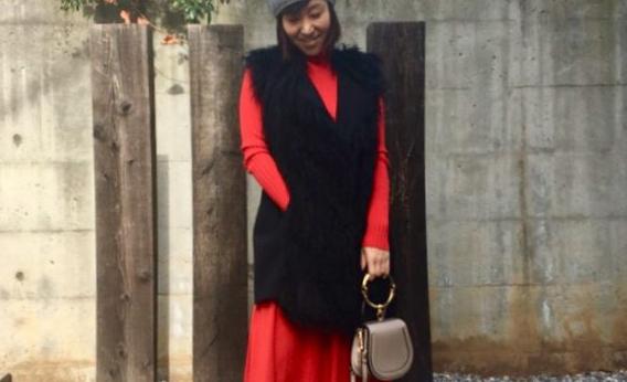 2c54bbd8a7165 UNIQLO UとIDEE POOL いろいろの服「冬の赤ワンピ」