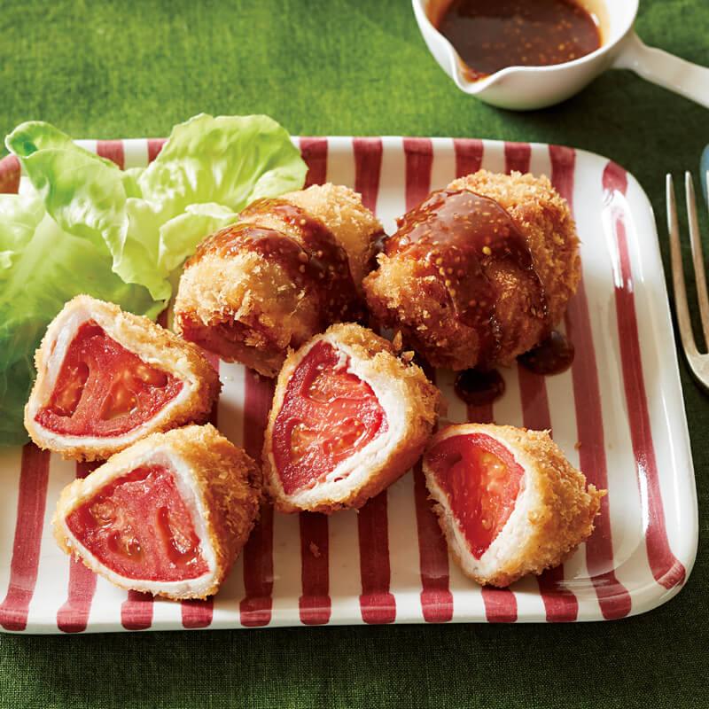 トマトの豚肉ロール揚げ