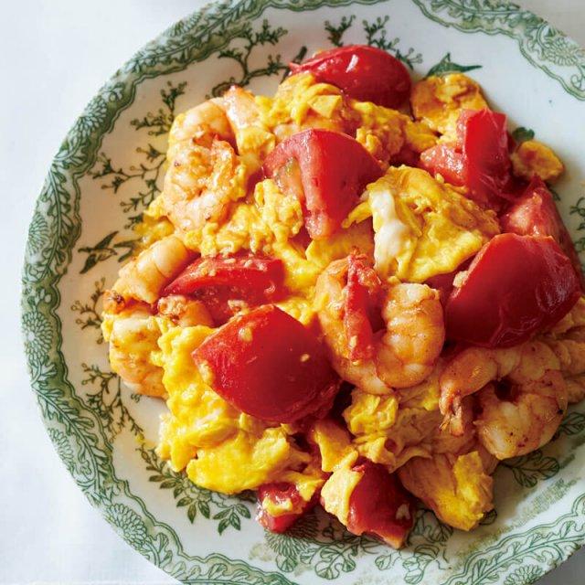 トマト、卵、エビ炒め