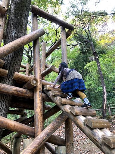「樹上の家」、結構スリリングな遊び場です。