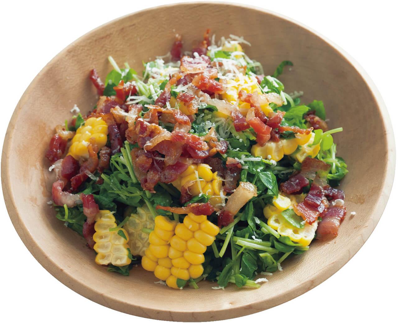 「豆苗とコーンのベーコンチップサラダ」レシピ/ワタナベマキさん