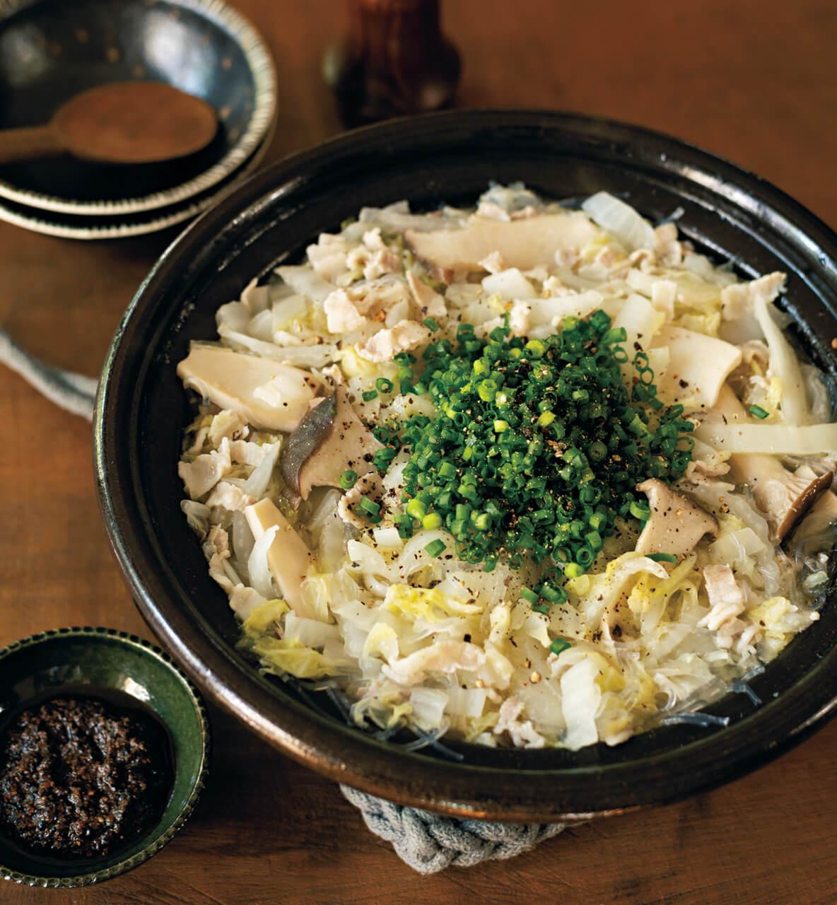白菜漬け、豚バラ、春雨の鍋