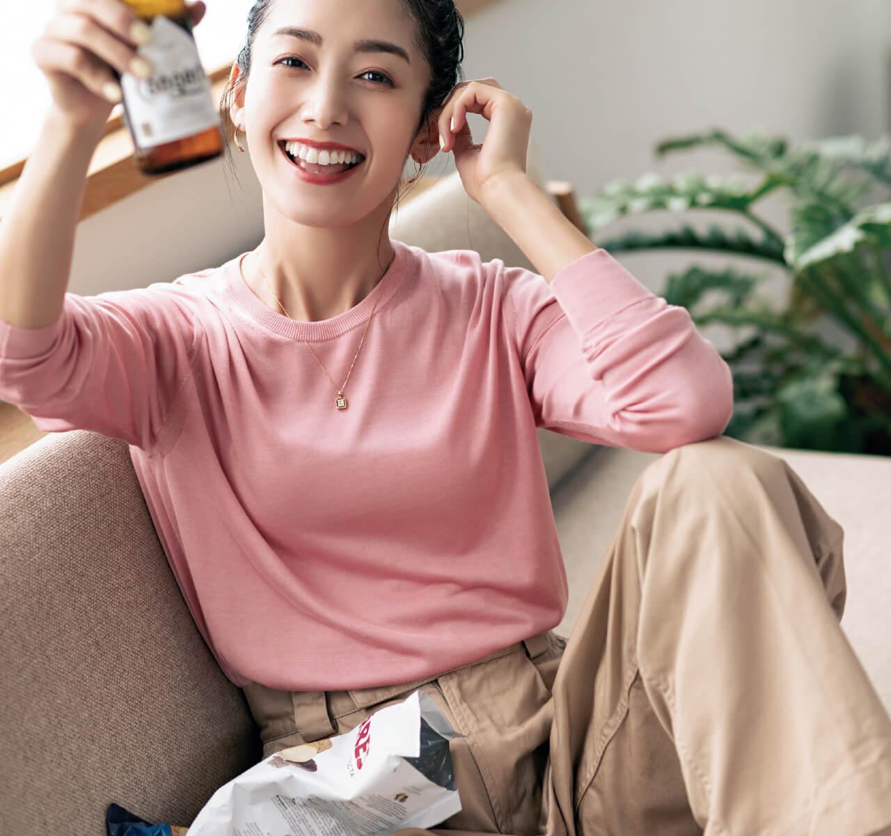 橋本優子さん オンライン飲み会×ダイヤモンドネックレス