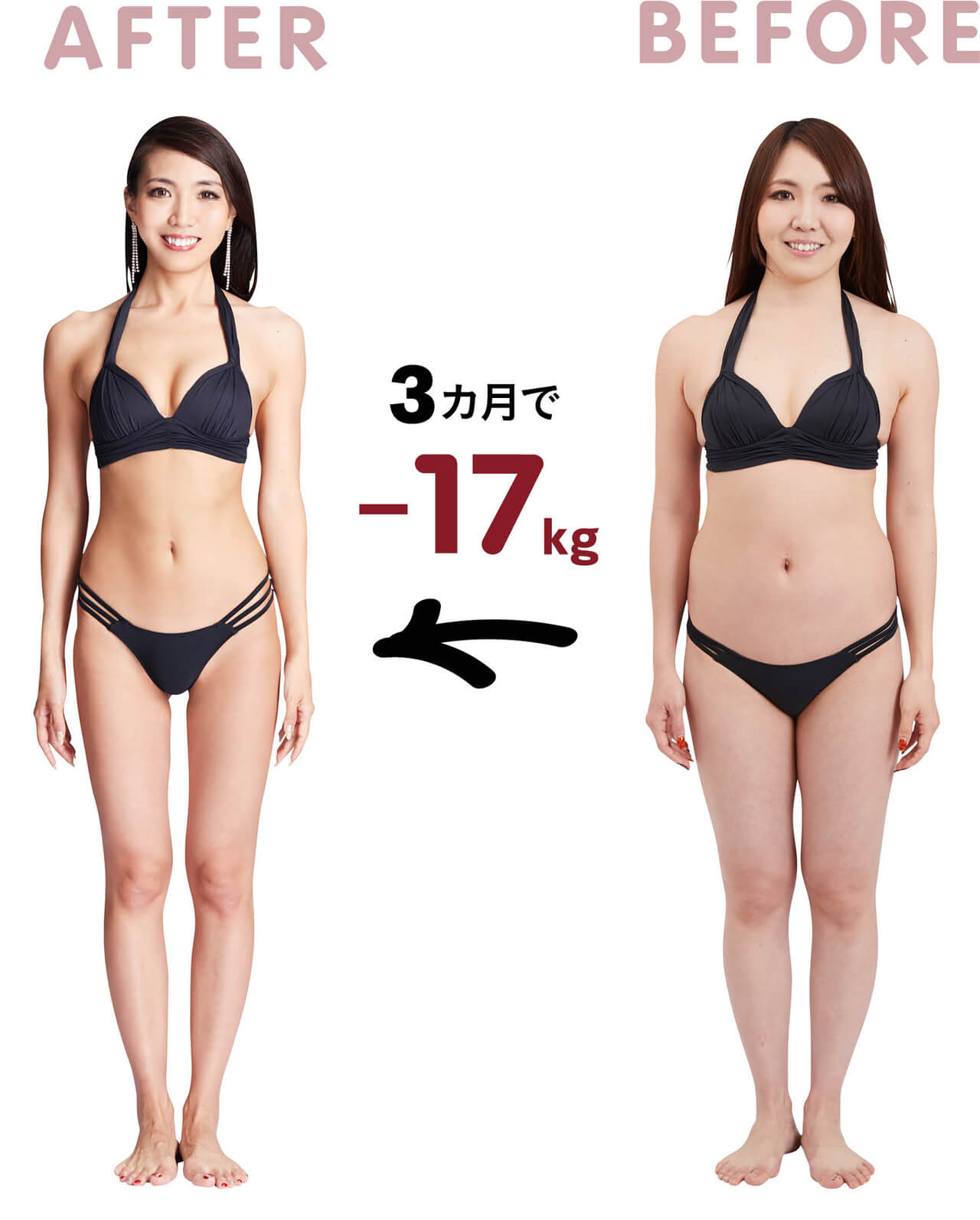 AFTER BEFORE 3カ月で-17kg