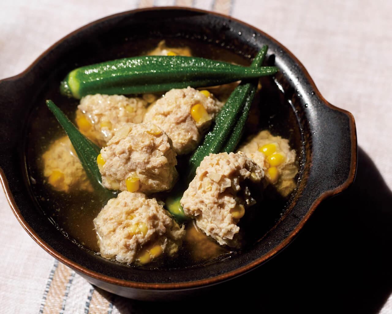 「トウモロコシ入り鶏だんごの和風スープ」レシピ/コウケンテツさん