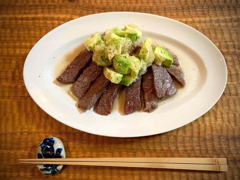 アボガド&おろしソースのステーキ