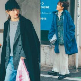 蛯原友里さんコートとジャケットのレイヤードコーデ