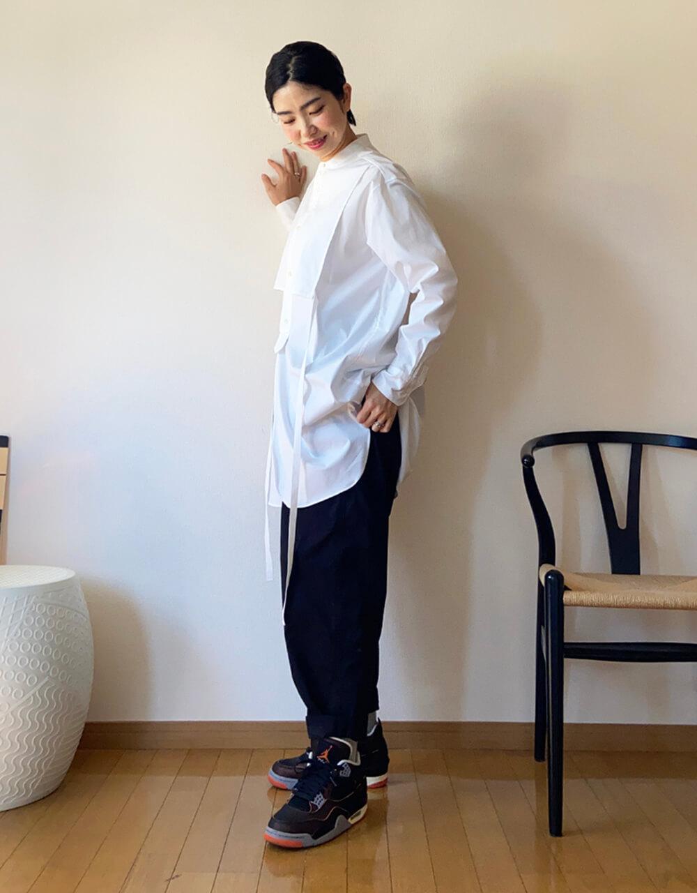 高木綾子/エアジョーダン4 シャツ/メゾンスペシャル パンツ/グラミチ