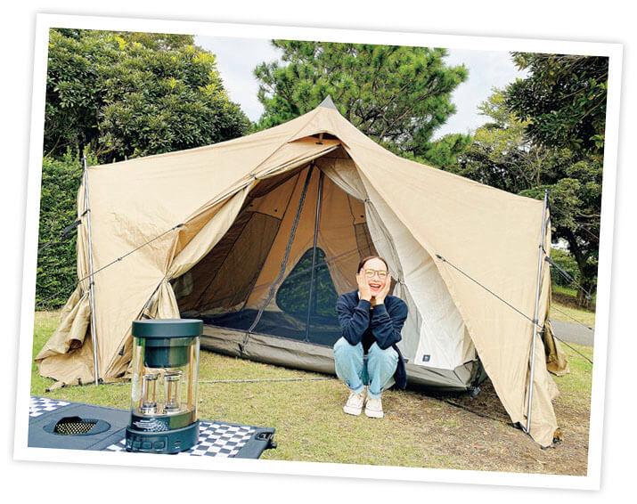 辻元舞さん キャンプデビュー奮闘記 公園でテントの試し張り