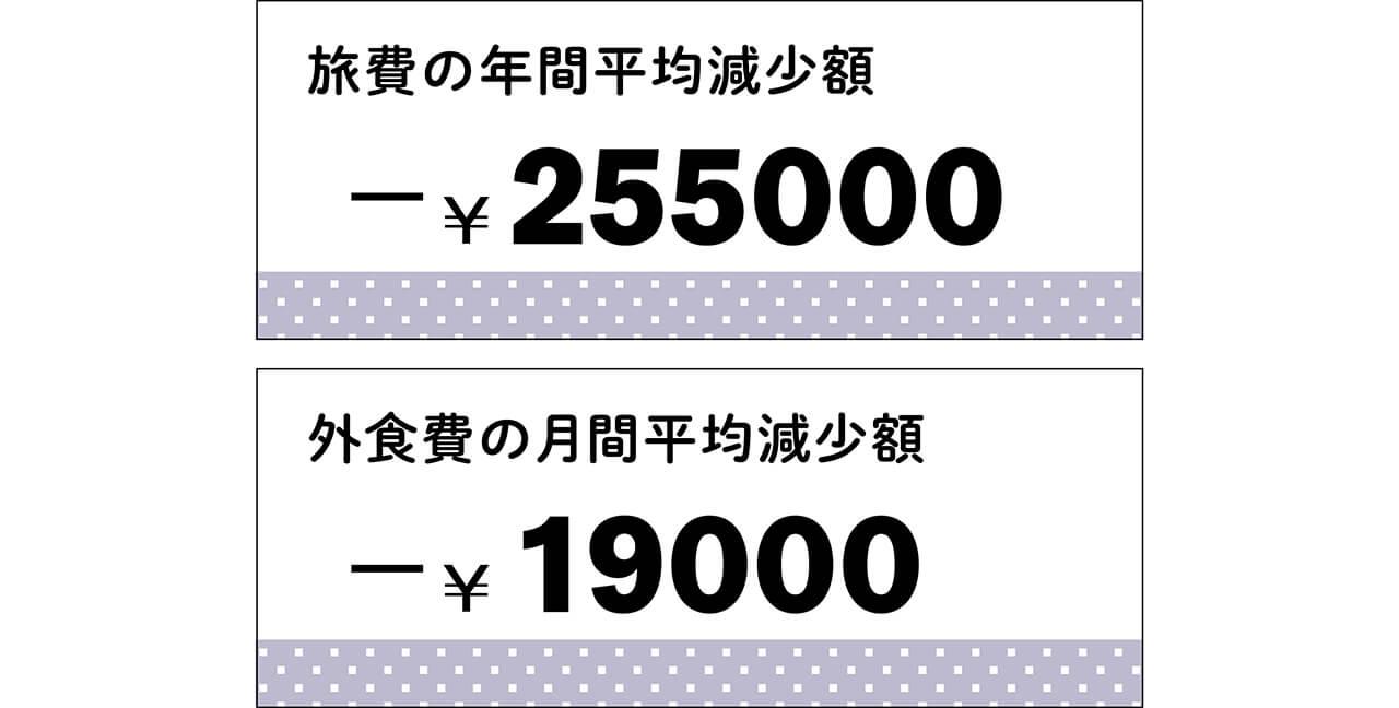 旅費の年間平均減少額 -¥255000 外食費の月間平均減少額 -¥19000