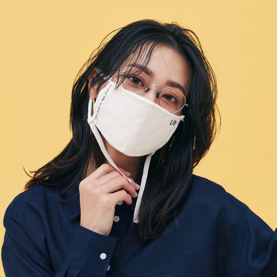 モデル/牧野紗弥 メガネ¥70400/アイヴァン PR(10 アイヴァン) マスク¥2420/ユーニード(ウーア) ピアス¥69300/マリハ