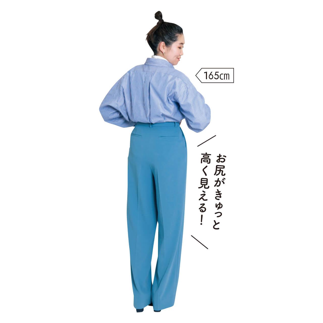Editionの「ジョーゼットタックパンツ」を試着!165cm スタイリスト亀甲さん「お尻がきゅっと高く見える!」
