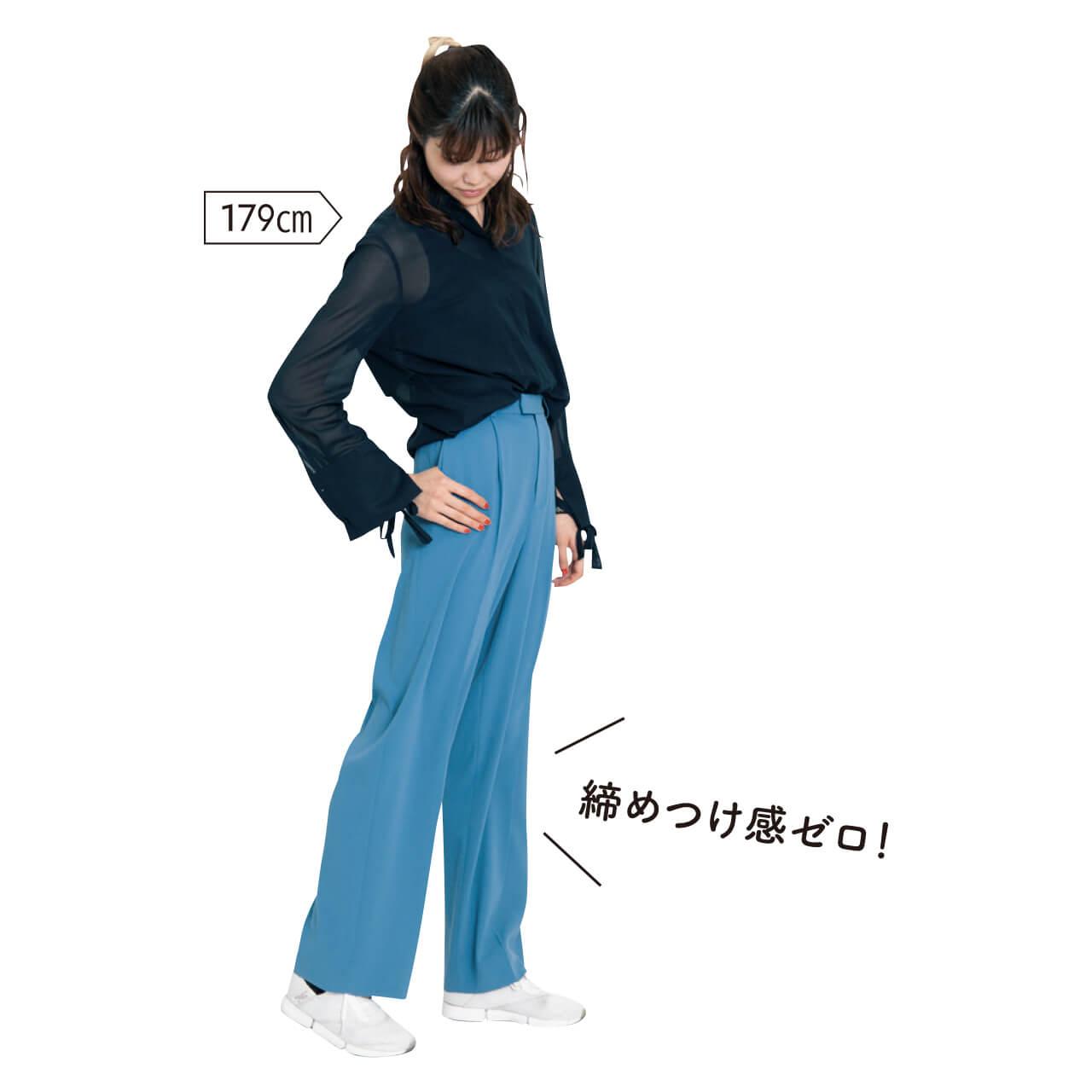 Editionの「ジョーゼットタックパンツ」を試着!179cm 編集カー子「締めつけ感ゼロ!」