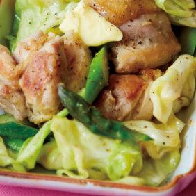 【べんり漬けアレンジ】「鶏、キャベツ、アスパラのみそバター焼き」レシピ/榎本美沙さん