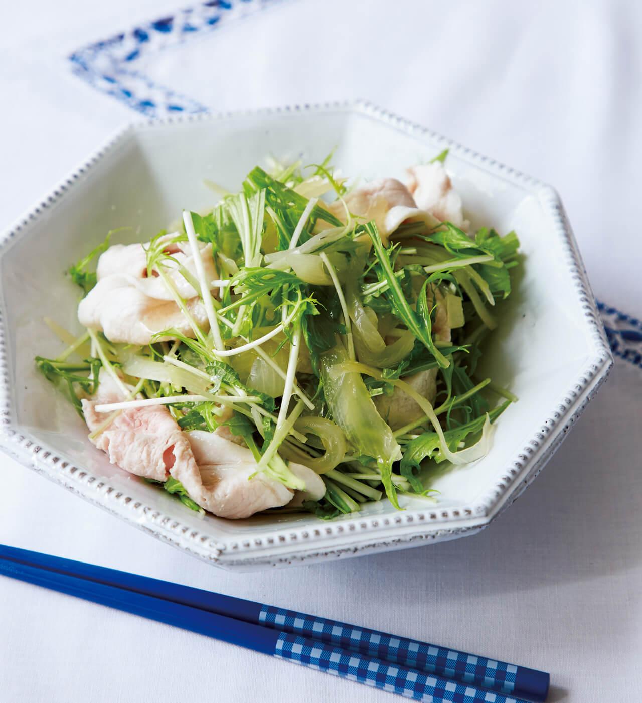 【べんり漬けアレンジ】「豚しゃぶ、玉ねぎ、水菜のおかずサラダ」レシピ/榎本美沙さん