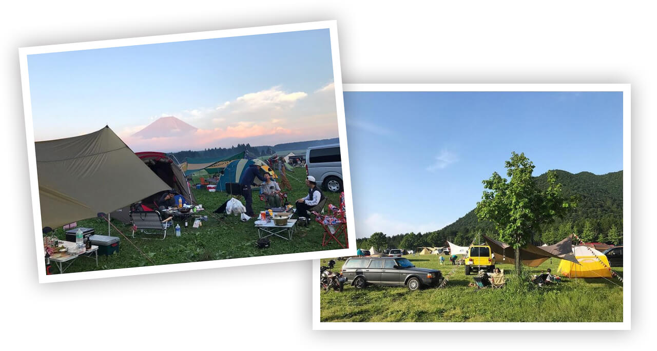 モデル asacoさんのふもとっぱらでのキャンプ写真