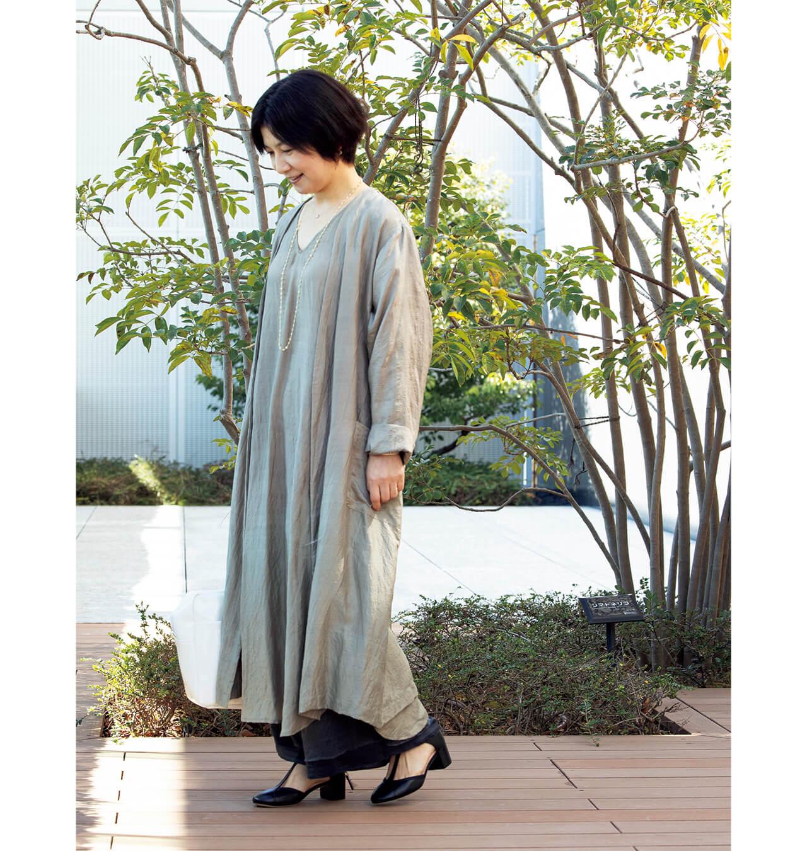 後藤由紀子さんの偏愛ワンピース「このコートとワンピースとパンツは、すべてユライヤ。」