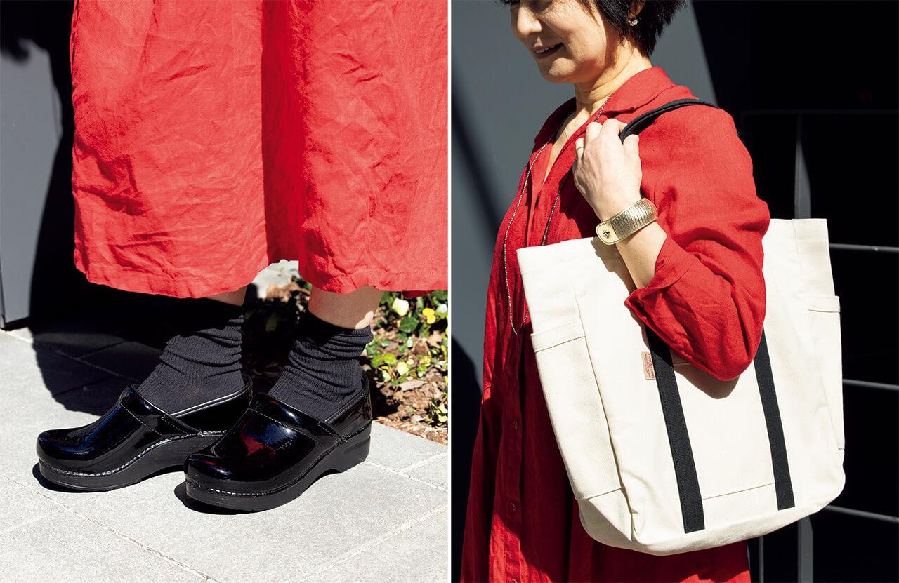 後藤由紀子さん、リネンワンピースにダンスコのシューズとhalのバッグ