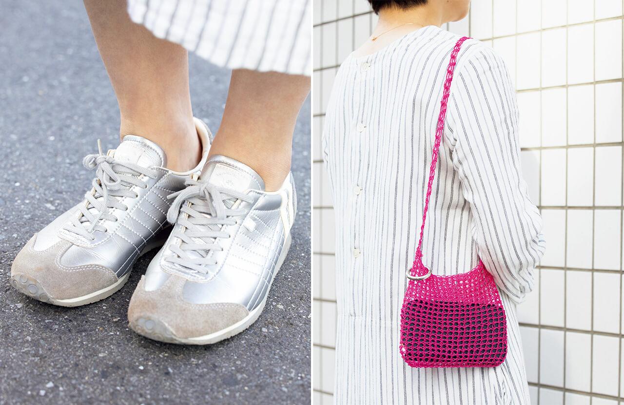 後藤由紀子さん「シルバーのスニーカーはパトリック、目を引く色鮮やかなピンクのメッシュバッグはイレブン セカンドのもの」