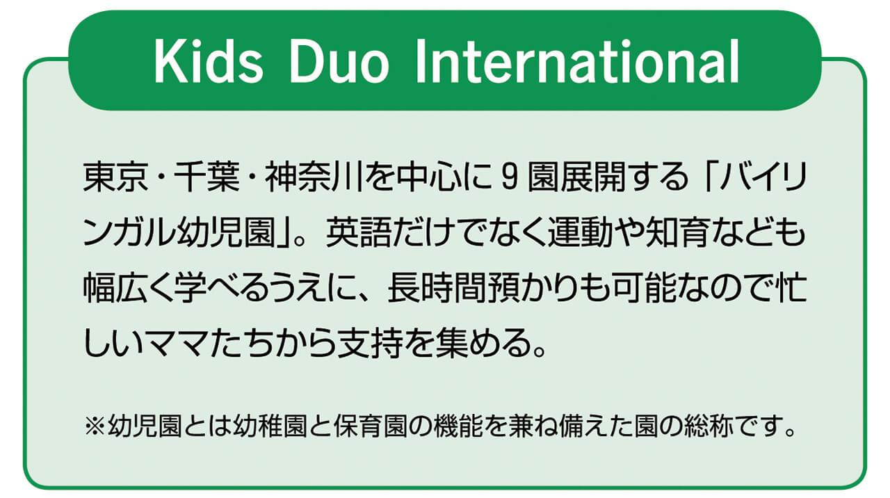 Kids Duo International 東京・千葉・神奈川を中心に9園展開する「バイリンガル幼児園」。英語だけでなく運動や知育なども幅広く学べるうえに、長時間預かりも可能なので忙しいママたちから支持を集める。 ※幼児園とは幼稚園と保育園の機能を兼ね備えた園の総称です。