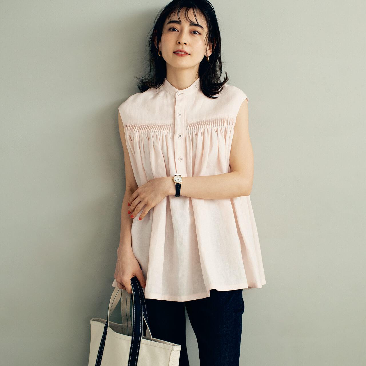 Scye サイ リネンピンタックスリーブレスシャツ