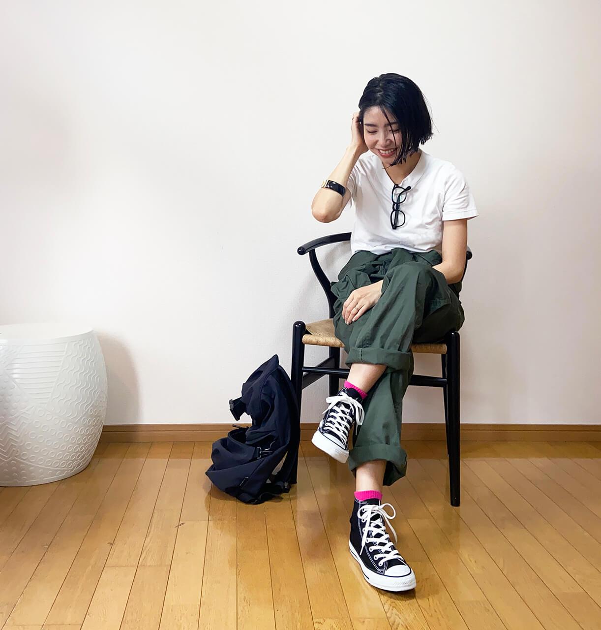 高木綾子/カットソー/ジュンヤワタナベ パンツ/ワークマン ソックス/ファミリーマート スニーカー/コンバース