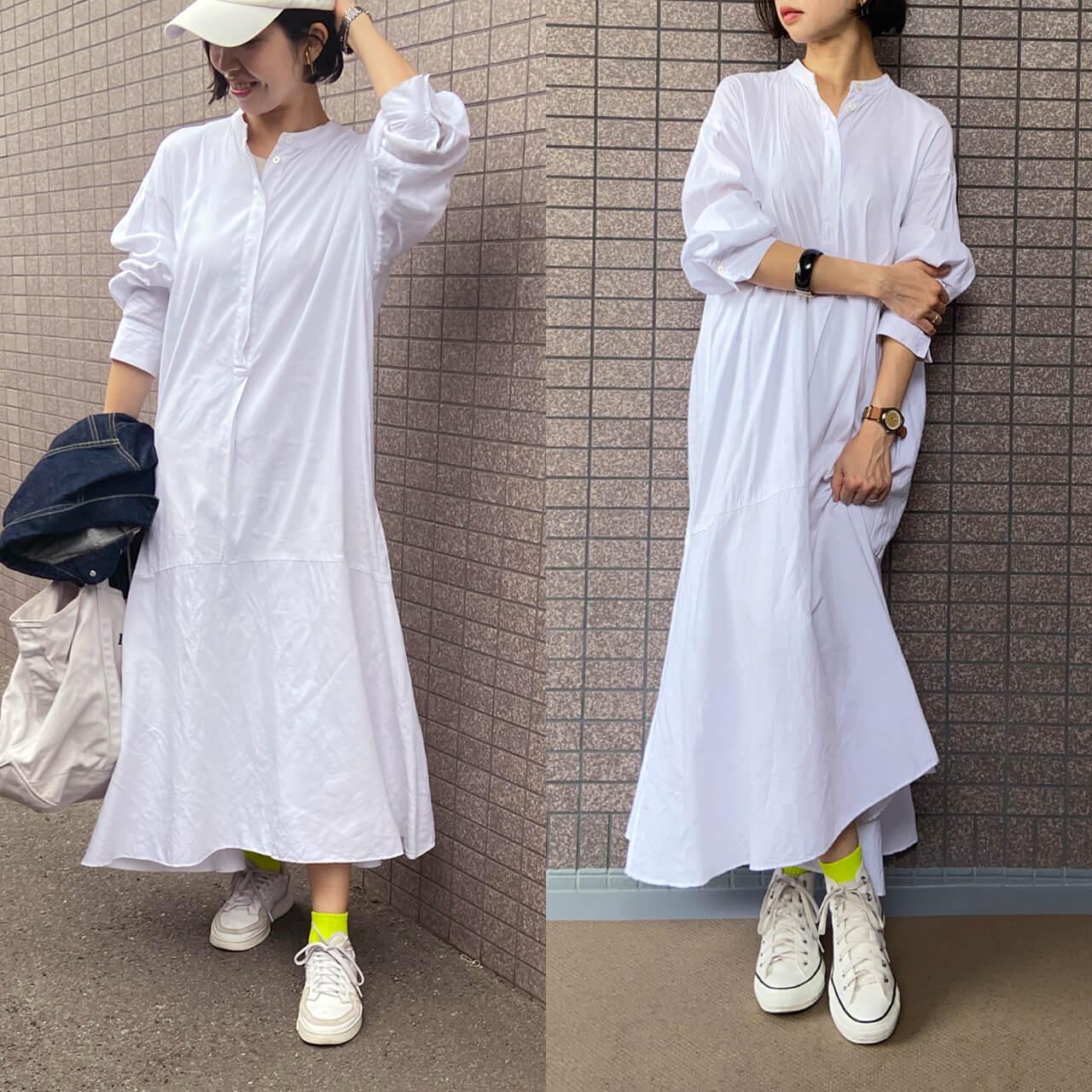 高木綾子/(右)ワンピース/plage 靴下/ファミリーマート スニーカー/コンバース (左)スニーカーアディダス