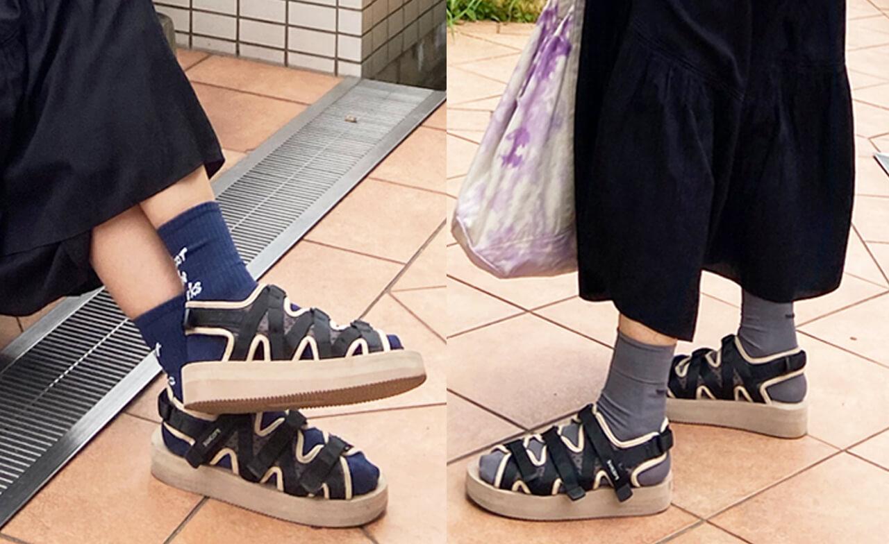 (右)ワンピース/ミラ オーウェン バッグ/エル エル ビーン サンダル/エミ×スイコック 靴下/サードマガジン (左)靴下/GU キッズ(BOYS)その他右と同じ