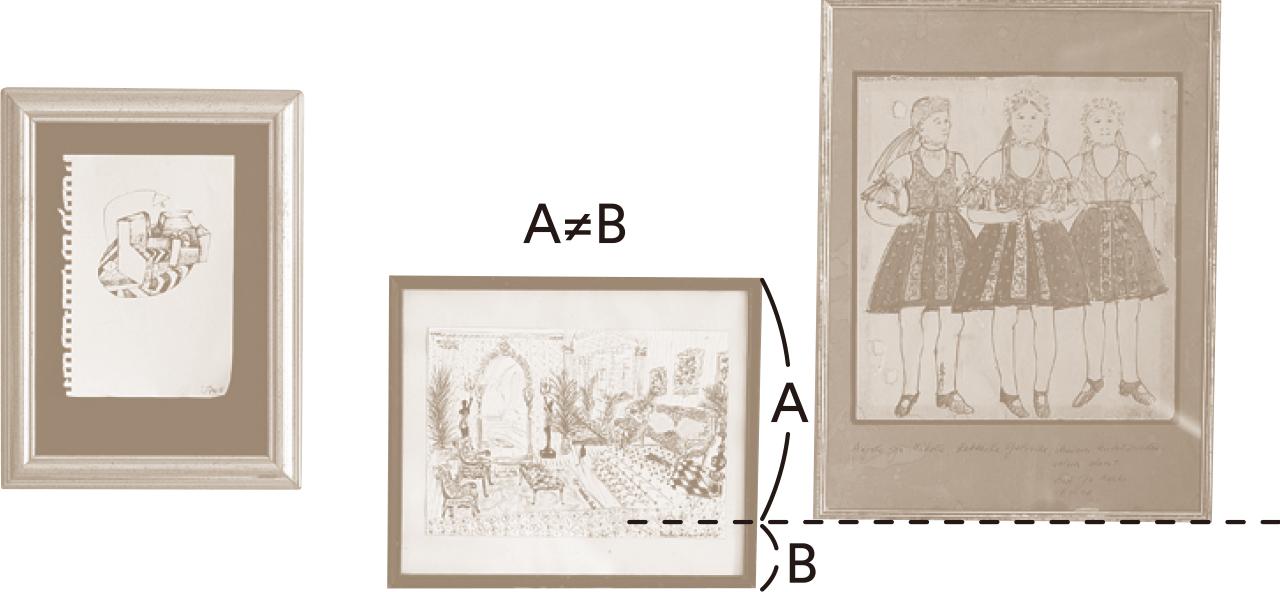 石井佳苗さんの絵の飾り方 上下、そして左右までアシンメトリーを意識して