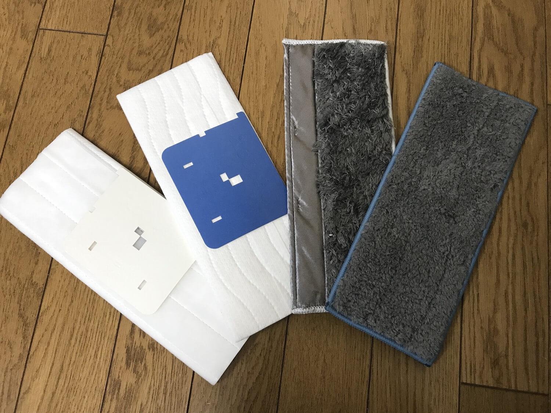 クリーニングパッドは全部で4種類。水拭き用とから拭き用があり、それぞれに使い捨てパッド、洗って繰り返し使えるパッドとがあります