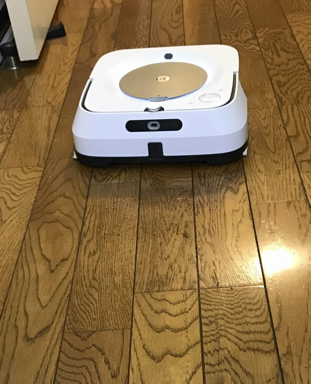 シューッと水を出す音などがしますが、ルンバのような吸引タイプのロボット掃除機とは異なり、とても静か