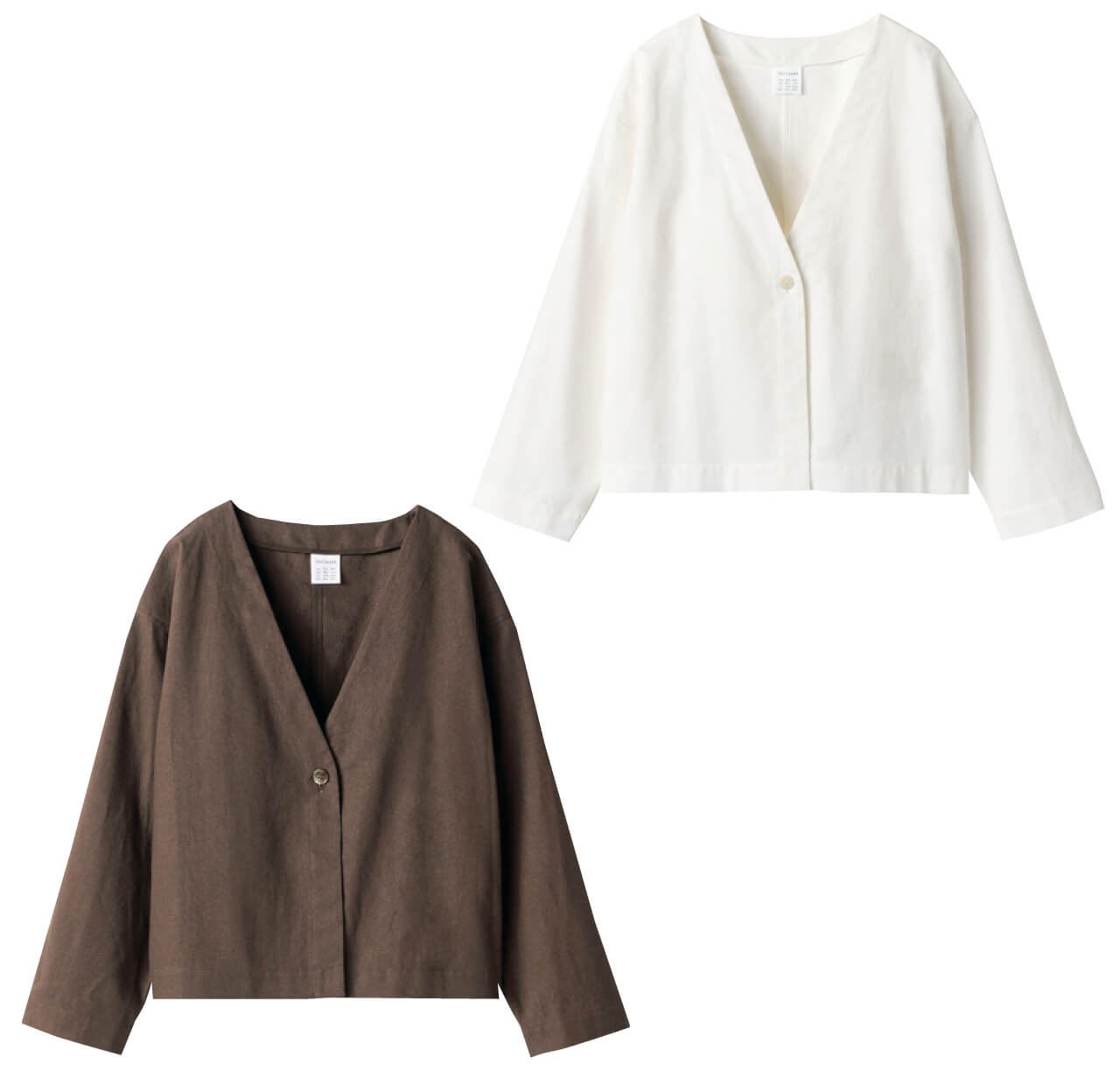 12closet リネンコンパクトジャケット 左:ダークブラウン 右:オフホワイト