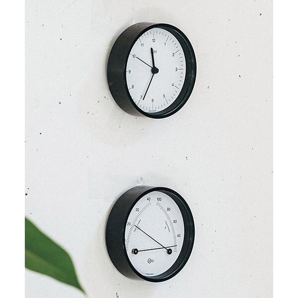 バリゴ(上)時計・(下)温・湿度計(ともに直径8.6㎝)(各)¥12650/リビング・モティーフ
