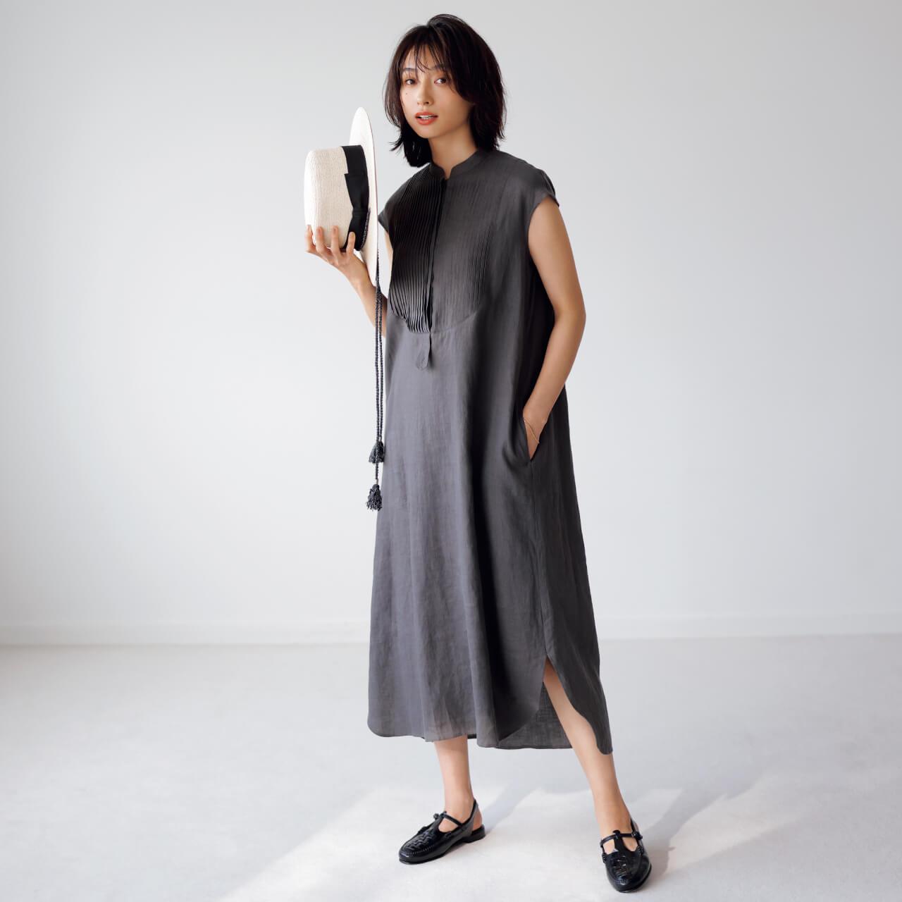 saqui サキ リネン ピンタックシャツドレス