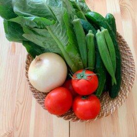サラダに合う野菜、トマトおくら玉ねぎロメインレタス