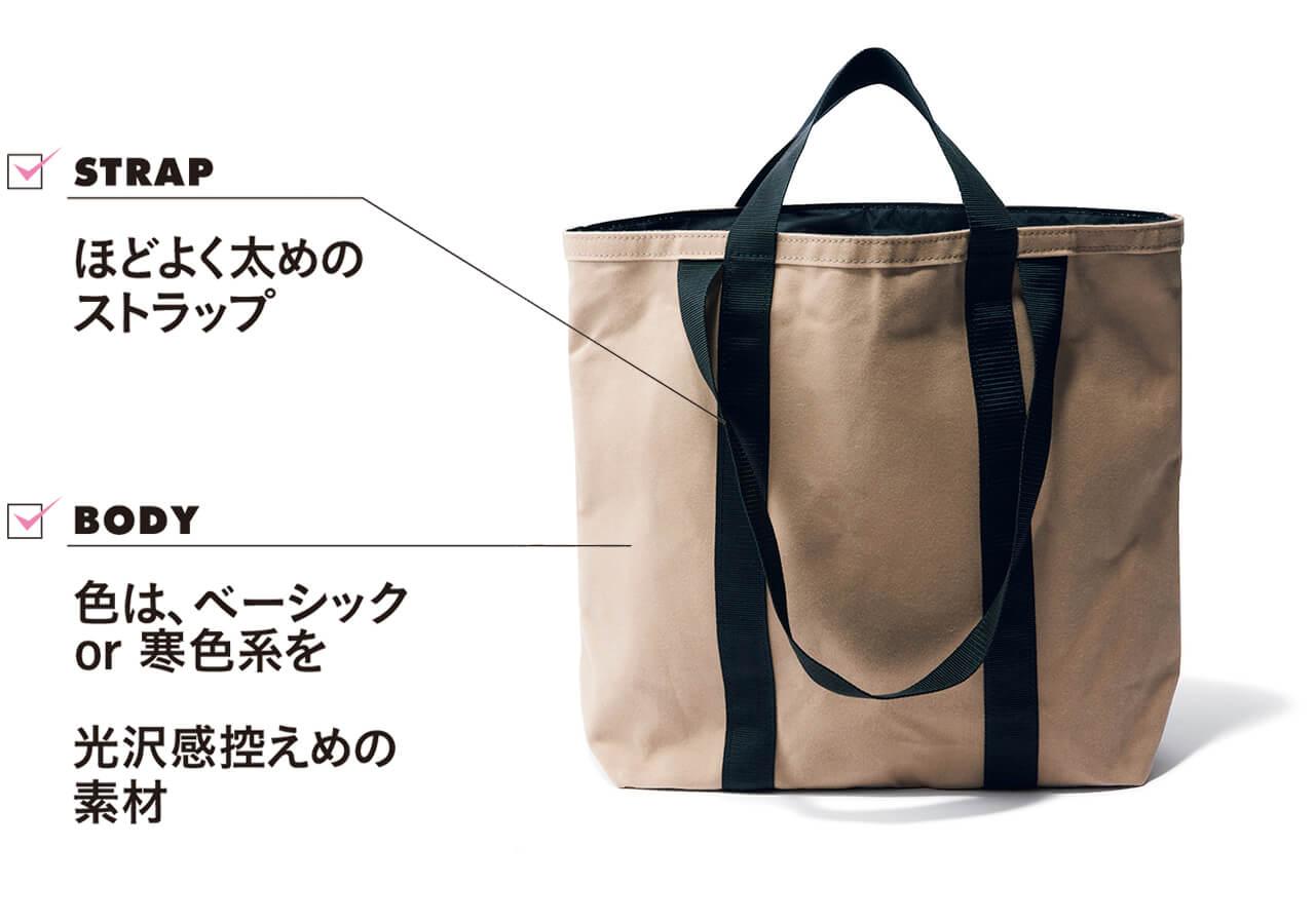 バッグ(42.5×37.5×15)¥18700/テンベア STRAP ほどよく太めのストラップ BODY 色は、ベーシックor 寒色系を 光沢感控えめの素材