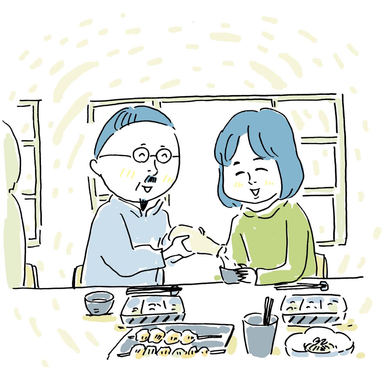 居酒屋では、生活空間とは別の場所で差し向かいになることで、お互いの話に集中できる。
