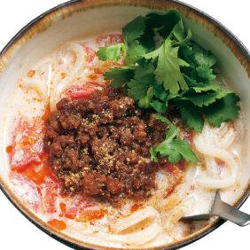【ゆでずにラクちん】「豆乳トマトの担々うどん」レシピ/きじまりゅうたさん