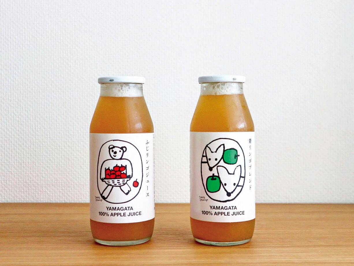 リンゴリらっぱの青リンゴブレンド、ふじリンゴジュース(どちらも180㎖) (各)¥421