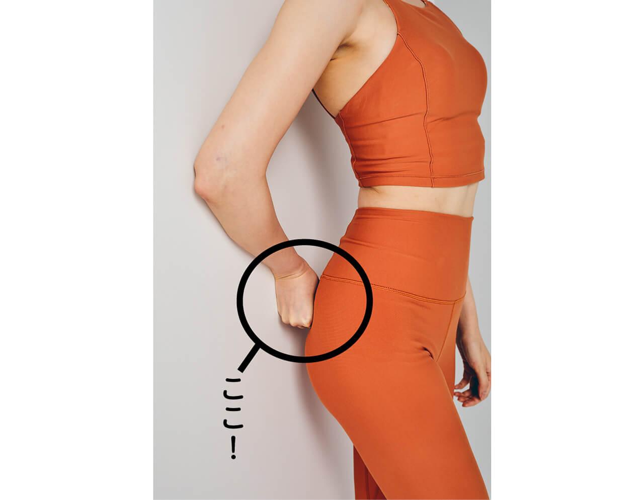 壁によりかかり、こぶしをつくったら壁とおしりの間にこぶしを入れ、体を左右にゆらしミルフィーユポイントを刺激。 ここ!