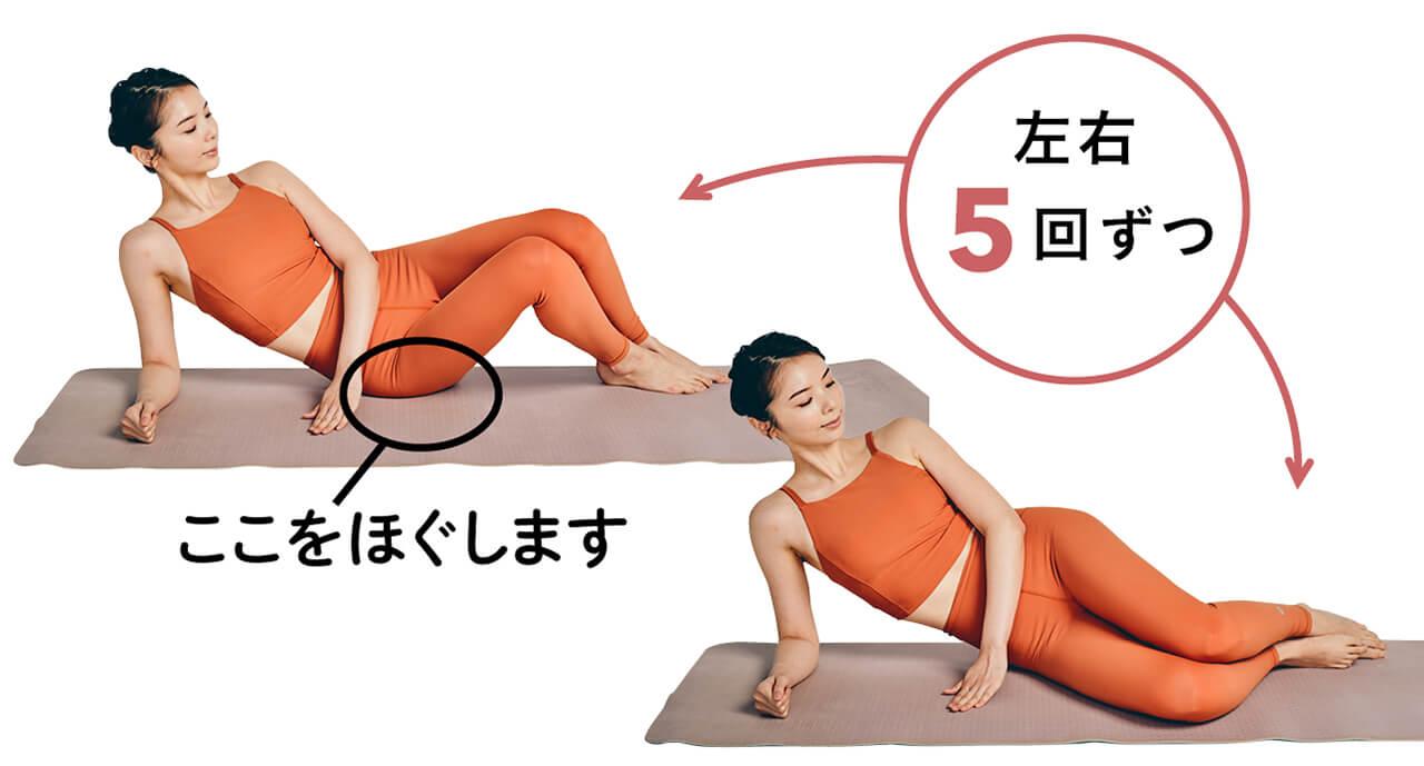 2.おしりを起点に両ひざをそろえ立てる、戻すを繰り返す 左右5回ずつ ここをほぐします