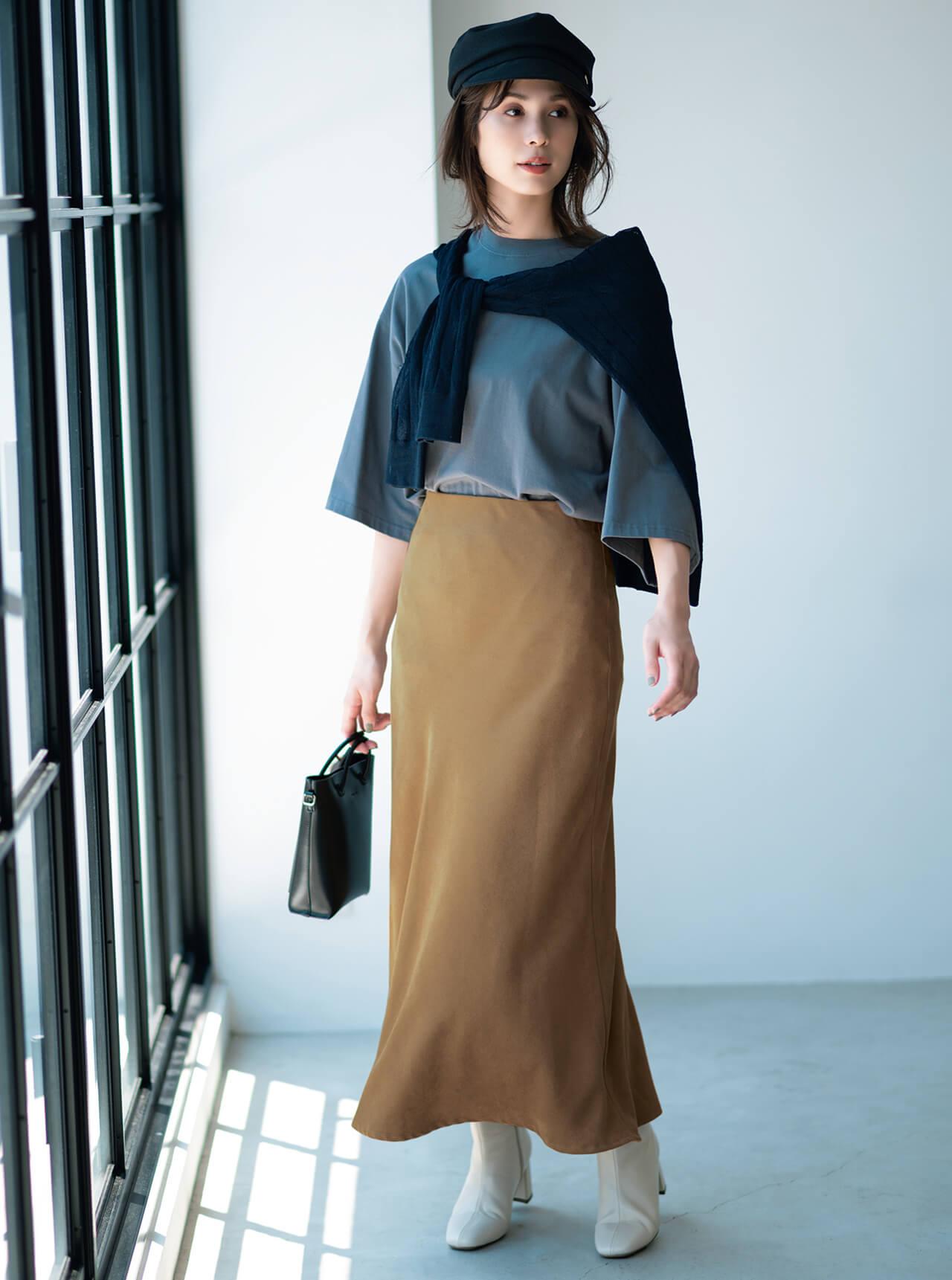 12closet 【洗える】スウェードロングスカート
