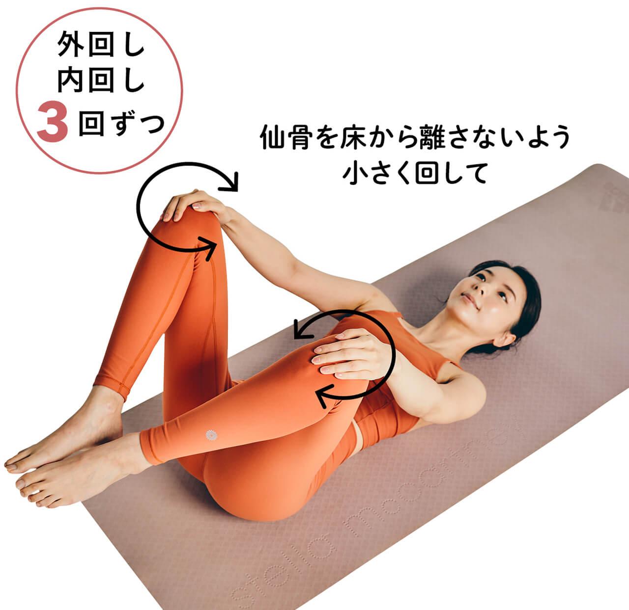 ひざを回しながら仙骨の下側をほぐす 内回し外回し3回ずつ 仙骨を床から離さないよう小さく回して
