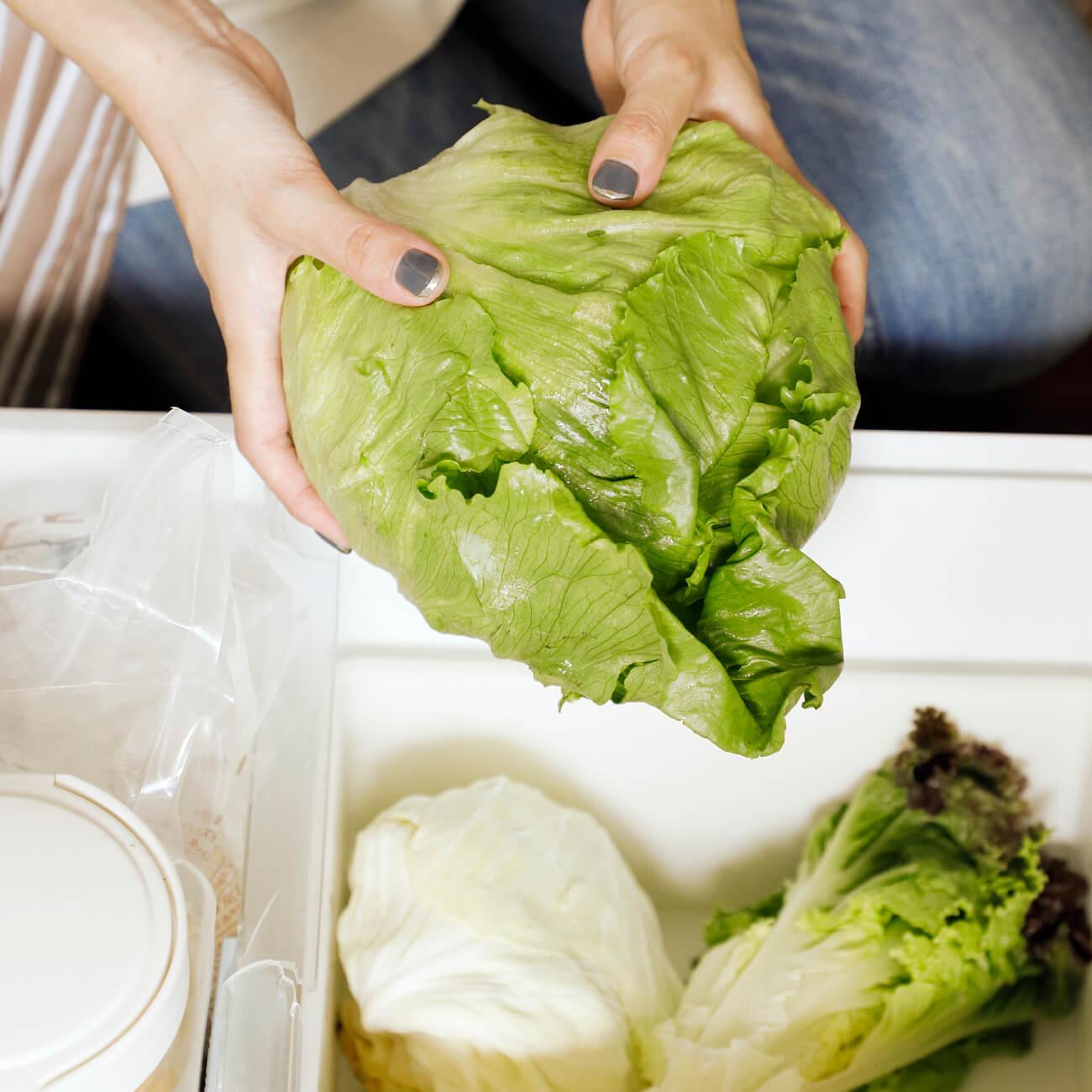 葉野菜は大玉と小ぶりのものを隔週で頼み、野菜室の在庫量を調整