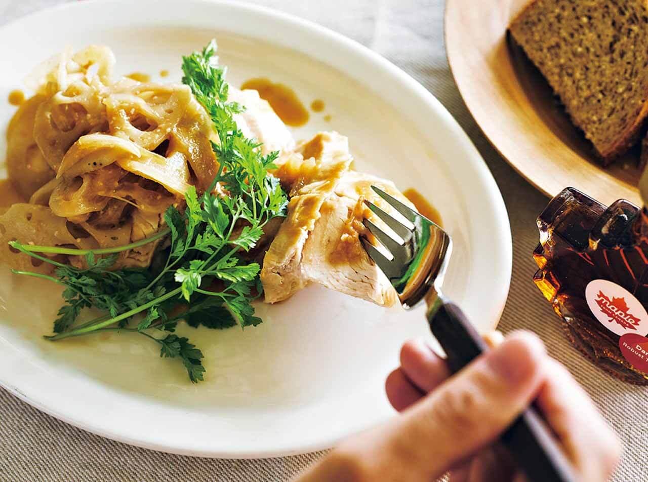 みそとメープルシロップ、よく合うんです 鶏とれんこんのみそメープルソテー