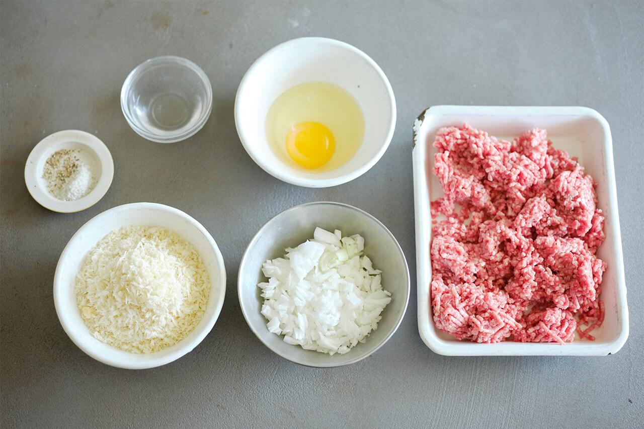 玉ねぎ、水、パン粉がポイント