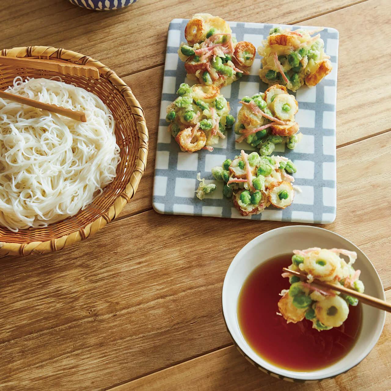 「枝豆、ちくわ、紅しょうがのミニかき揚げそうめん」レシピ/重信初江さん